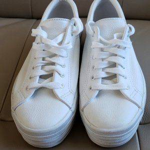 White Leather Relaxed Fit Keds - Size 7.5